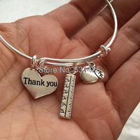 Teacher-Bracelet with apple, ruler and thank you heart charms