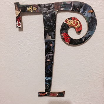 Comic Book Swirly Letter Wall Art T