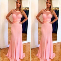 2017Halter Pink Mermaid Prom Dresses Costume Made Elegant Evening Party Gowns Sheer Neckline Pleats Sexy Formal Black Girl Dress