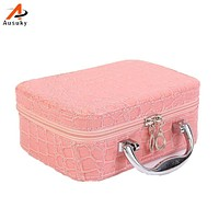 Ausuky Women Beauticians Cosmetic Cases Travel Handbags Pu Leather Organizer Makeup Bag Wash Bags Make Up Cosmetic Case 50