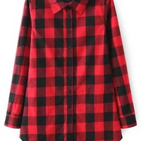 Red Buttons Long Sleeve Checker Plaid Blouse -SheIn(Sheinside)