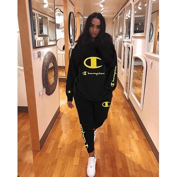 '' Champion '' Women Casual Multicolor Letter Pattern Print Long Sleeve Trousers Set Two-Piece black