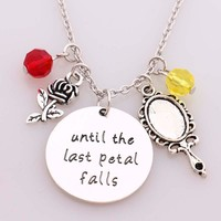 """Beauty and Beast Necklace""""until the last Petal Falls""""Hand Stamped Letter Pendant with Rose,Mirror with Crystal Charms Necklace"""