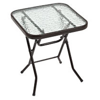 Square Glass-Top Folding Side Tables at Deals