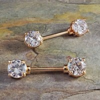 Rose Gold Nipple Barbell Jewelry Barbell