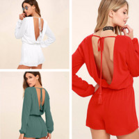 Fashion Backless Deep V Strappy Long Sleeve Romper Jumpsuit Shorts