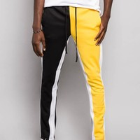 Two Tone Color Blocked Track Pants