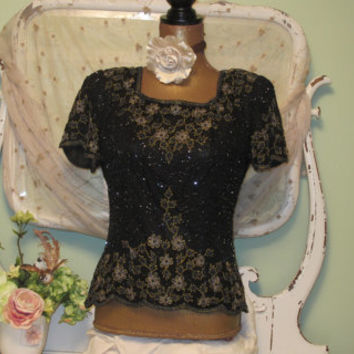 80's Beaded Top Vintage Shirts Dynasty Blouse Medium Celebration Clothes Vintage Clothing Women's Silk Beaded Tops Black Gold Evening Wear