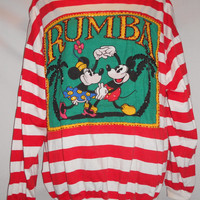 VIntage 80s Mickey and Minnie Mouse Dancing Rumba Jeweled Long Sleeve T Shirt Disney Mickey and Co
