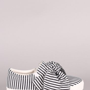 Striped Oversized Bow Slip-On Sneaker