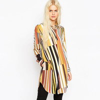 Causal Long Sleeve Multi Color Doll Collar Asymmetrical Loose Blouse
