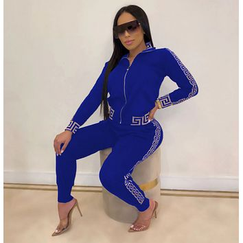 New Popular Women Casual Round Collar Top Pants Set Two-Piece blue