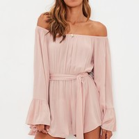 Missguided - Pink Flare Sleeve Tie Front Bardot Romper