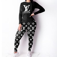 Louis Vuitton LV Trending Women Casual Print Long Sleeve Top Pants Set Two-Piece Sportswear