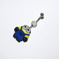 Despicable me inspired minion belly button ring