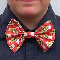 Pizza Slice Bow Tie Red Plaid bowtie