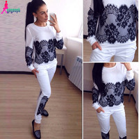 Gagaopt French Lace Applique Women Sport suit 2 Piece set Tracksuit Fashion Jogging suits for Women S0723
