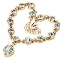 Linked Forever Crystal Heart Charm Bracelet For Woman- Choose Your Color