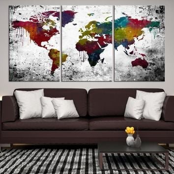 99690 Large Wall Art World Map Canvas Print Extra Large World Map Wall Art Canvas Print World