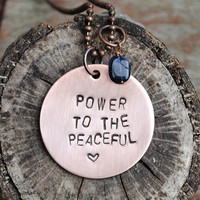 """Peaceful Inspiration Necklace, Michael Franti-Inspired Pendant reads """"Power to the Peaceful"""" with Iolite stone"""