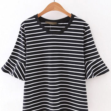 Black Ruffle Cuff Stripe T-shirt