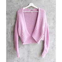 Free People Glow For It Chunky Knit Open Front Ribbed Hem Cardi in Lavender / Purple Moon