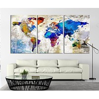53868 Modern 3 Panel Large Watercolor World Map Canvas Print Ready to Hang Framed