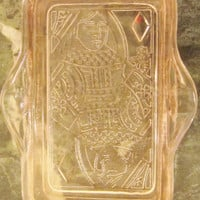 Pink Depression Glass Ash Tray Queen of Diamonds Card Game Ash Tray
