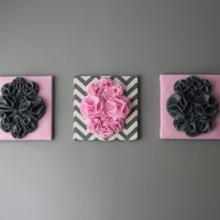 "Three Wall Art Canvases, Pink and Gray Chevron Nursery Wall Art, 3D Wall Decor, Felt 12x12"" Wall Hangings"