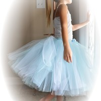 Light Blue Long Princess Tutu or Halter Style Tutu Dress...Pale Blue Flower Girl Tutu, Photo Prop...Toddler and Girls Sizes . . .ENCHANTED