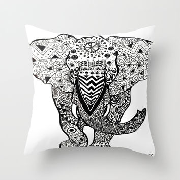 Elephant Illustration Throw Pillow by Summer Shells