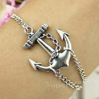 Silver bangle bracelet - the anchor charm bracelet - fashion - personality - gift blessing girlfriend and BFF