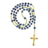 "Gold Plated Rosary with 10mm and 8mm Faceted Rondell Beads - Blue - 30"" Necklace - 20"" Overall Length"