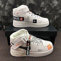 Morechoice Tuhz Nike Air Force 1 Mid Retro Just Do It Sneakers Velcro Casual Skaet Shoes Bq6474-100