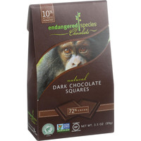 Endangered Species Natural Chocolate Squares - Dark Chocolate - 72 Percent Cocoa - Bite Size - 10 Count - Case Of 6