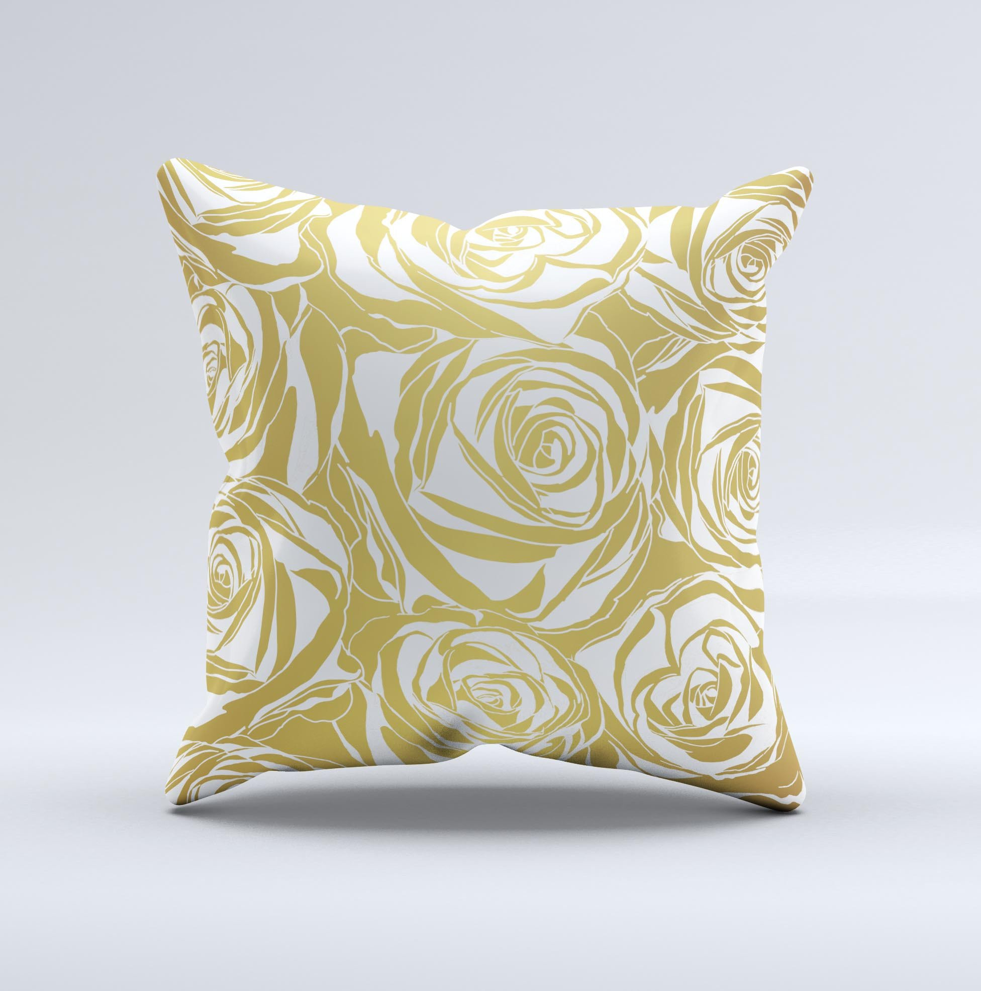 Image of The Gold and White Roses ink-Fuzed Decorative Throw Pillow