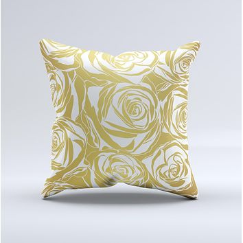 The Gold and White Roses ink-Fuzed Decorative Throw Pillow