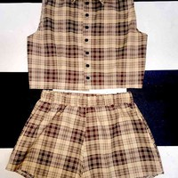 SWEET LORD O'MIGHTY! PLAID BABY SET IN BROWN