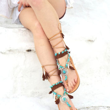 Native America leather Sandals, hippie shoes, Gladiator Sandal, barefoot, Geniun leather shoes, festival sandal, Valentine's gift for women