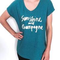 sunshine and champagne Triblend Ladies V-neck T-shirt women fashion funny gift present party drinking shirt quotes saying slogan summer