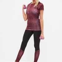 Missguided - Active Red Snake Print Performance T-shirt