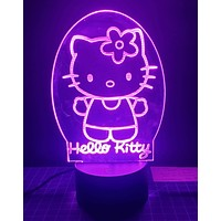 Laser Cut and Engraved Hello Kitty 3D Acrylic LED Light Lamp