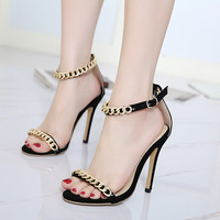 Sexy Lace-Up Meta  High-heeled Sandals Women Pumps Shoe