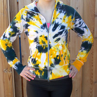 Nike Livestrong Black and Yellow Tie Dye Zip Up Hoodie - Women's Workout Clothing