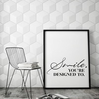 Smile Inspirational Wall Art Print Quote Modern Canvas Art Painting Wall Pictures For Bedroom Living Room Home Decor, No Frame