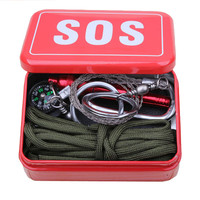 Outdoor equipment with paracord for binding  emergency   Carabiner survival  box SOS Camping Hiking saw/fire tools china