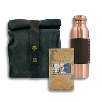 Waxed Canvas Lunch Bag + Copper Bottle Gift Set