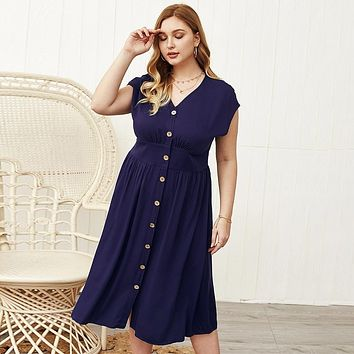 Neck Short Sleeve Buttons Front Casual Dress