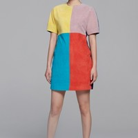 Textured colour block dress