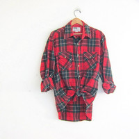 Vintage wool boyfriend flannel / red, green and black grunge shirt / tomboy shirt / plaid flannel